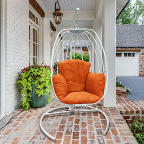 ART TO REAL Outdoor Wicker Egg Hanging Chair with Stand