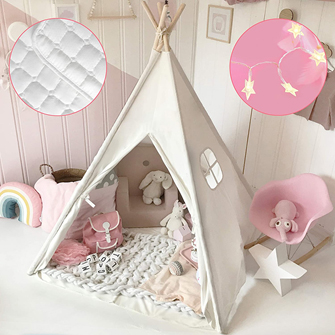 Kids Teepee Tent with Mat & Light String& Carry Case