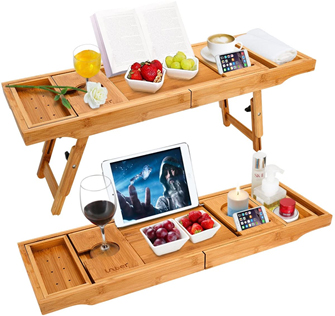 Wooden-Life Bathtub Caddy Tray & Laptop Desk